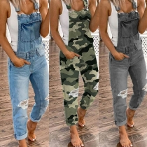 Fashion High Waist Ripped Relaxed-fit Denim Overalls