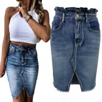 Fashion Ruffle High Waist Slit Hem Slim Fit Denim Skirt