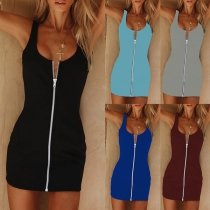 Sexy Solid Color Front-zipper Slim Fit Dress