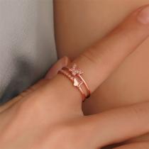 Fashion Rhinestone Butterfly Shaped Open Ring