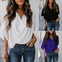 Fashion Solid Color Trumpet Sleeve Cowl Neck Top