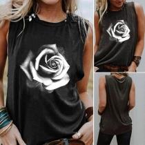 Fashion Rose Printed Sleeveless Round Neck T-shirt