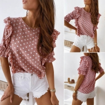 Sweet Style Short Sleeve Round Neck Dots Printed Ruffle Top