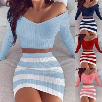 Sexy Long Sleeve V-neck Crop Top + Striped Skirt Two-piece Set