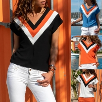 Fashion Contrast Color Short Sleeve V-neck T-shirt