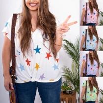 Fashion Short Sleeve V-neck Star Printed Loose T-shirt