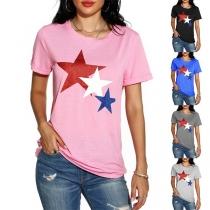 Fashion Pentagram Printed Short Sleeve Round Neck T-shirt