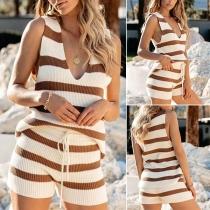 Fashion Sleeveless V-neck Striped Top + Shorts Two-piece Set