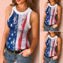Fashion American Flag Sleeveless Round Neck Slim Fit Top