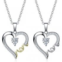 Fashion Rhinestone Inlaid Heart Pendant Necklace