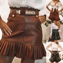 Fashion Solid Color High Waist Pleated Hem PU Leather Skirt