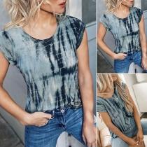 Fashion Tie-dye Printed Short Sleeve Round Neck T-shirt