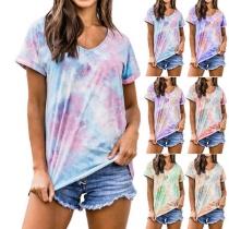 Fashion Tie-dye Printed Short Sleeve V-neck T-shirt