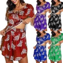 Fashion Short Sleeve V-neck Printed Top + Shorts Two-piece Set