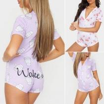 Fashion Short Sleeve V-neck Printed Romper
