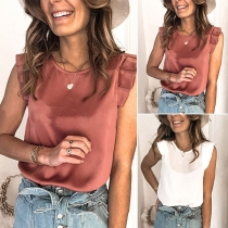 Fashion Solid Color Lotus Sleeve Round Neck Top