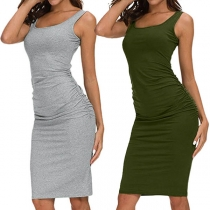 Simple Style Sleeveless Round Neck Solid Color Slim Fit Tank Dress