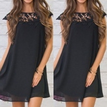 Fashion Lace Spliced Round Neck Solid Color Loose Dress