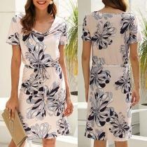 Fashion Short Sleeve Round Neck Printed Dress