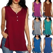 Fashion Solid Color Sleeveless V-neck Slit Hem Top
