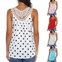 Fashion Dots Printed Sleeveless Lace Spliced Top