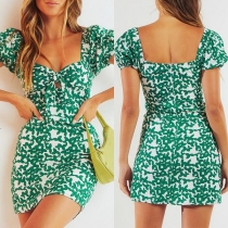 Fresh Style Short Sleeve Knotted V-neck Slim Fit Printed Dress