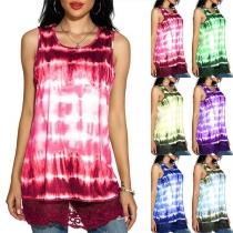 Fashion Sleeveless Round Neck Lace Spliced Hem Tie-dye Printed Top