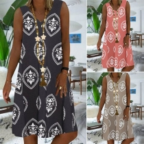 Fashion Sleeveless V-neck Loose Printed Dress