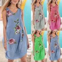 Casual Style Sleeveless Round Neck Printed Dress