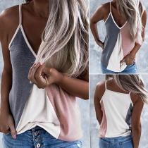 Sexy V-neck Contrast Color Sling shirt