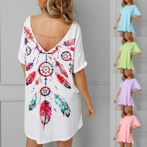 Sexy Backless Short Sleeve Round Neck Printed T-shirt