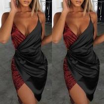 Sexy Backless V-neck Irregular Hem Sequin Spliced Sling Dress