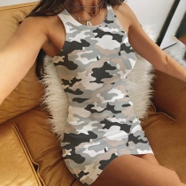 Fashion Camouflage Printed Slim Fit Tank Dress