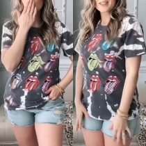 Chic Style Short Sleeve Round Neck Lips Printed T-shirt