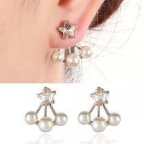 Fashion Pearl Inlaid Star Stud Earrings