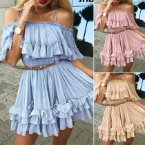 Sexy Off-shoulder Solid Color Ruffle Sling Cake Dress