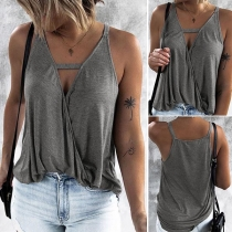 Sexy V-neck Solid Color Sling Top