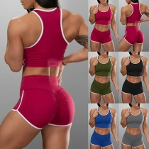 Sexy Contrast Color Sports Top + Shorts Two-piece Set