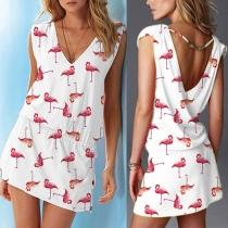 Sexy Backless V-neck Sleeveless Printed Dress