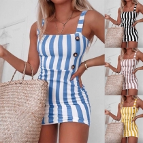 Sexy Backless Slim Fit Sling Striped Dress