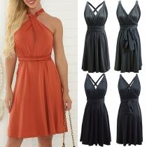 Sexy Backless V-neck Solid Color Sling Dress