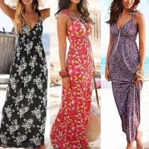 Sexy Backless V-neck Printed Sling Maxi Dress