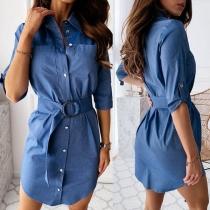 OL Style 3/4 Sleeve POLO Collar Shirt Dress