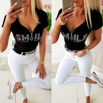 Fashion Rhinestone Letters Printed Short Sleeve V-neck T-shirt