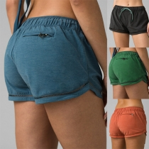 Sports Style Solid Color Elastic Waist Sports Shorts