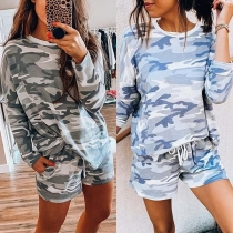 Fashion Camouflage Printed Long Sleeve T-shirt + Shorts Two-piece Set