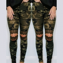 Sexy Hollow Out Lace Spliced High Waist Slim Fit Camouflage Printed Pants