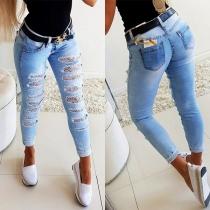 Jeans Ajustée Déchirés en Dentelle à la Taille Haute