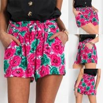 Fashion High Waist Printed Shorts with Waist Strap