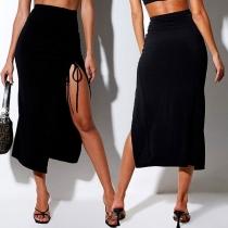 Sexy High Waist Slit Hem Solid Color Skirt